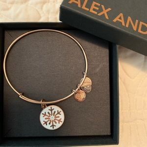 Alex and Ani rose gold plated snowflake bracelet